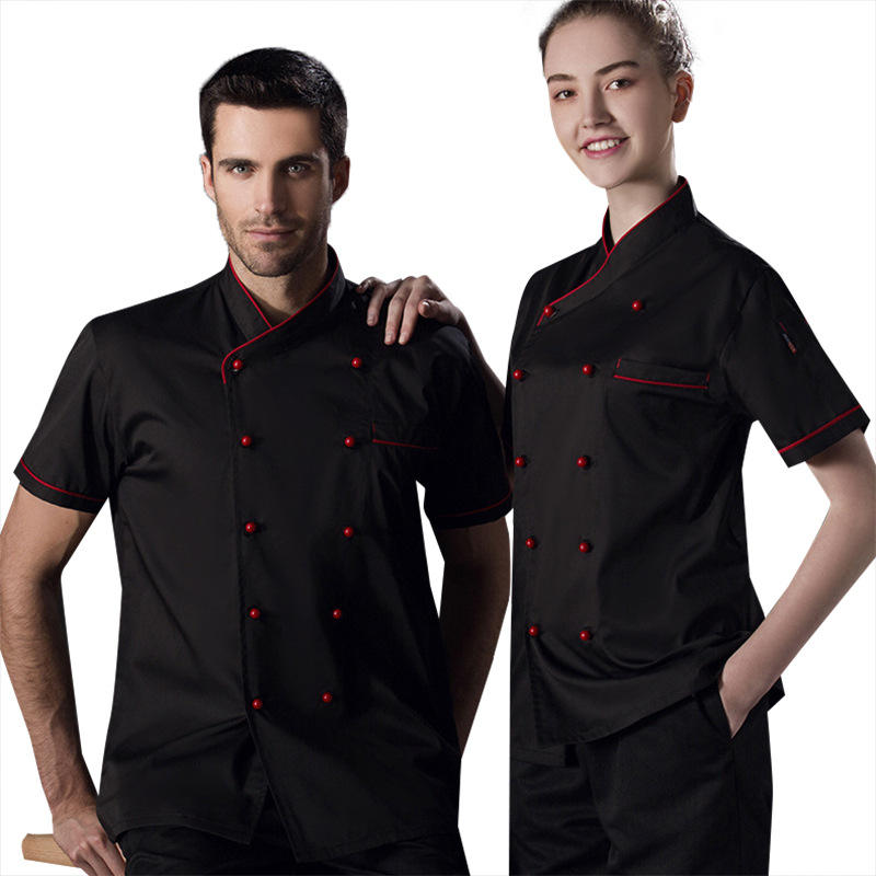 Wholesale hot black white Chef Coats Chef Uniforms Quick Production Low MOQ chef jacket