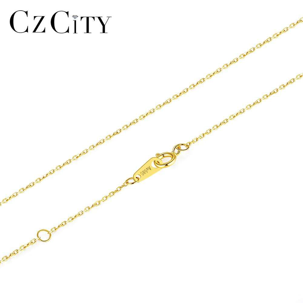 CZCITY Real Solid Gold Chains Necklaces O Shape Chain and Link Chian 14K Real Gold
