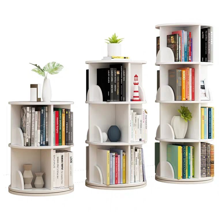 TMJ-2050 Custom Modern Home Wood White Revolving Storage Holders Racks Rotating Bookcase Book Shelf