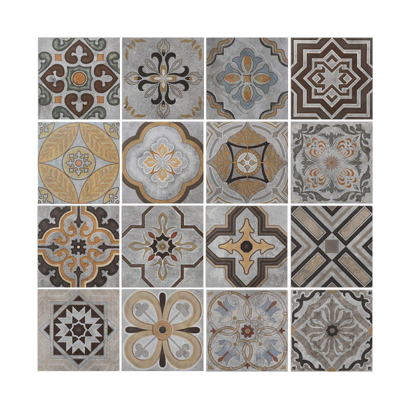 Cement Look Ancient Design Classic Moroccan Hand Painted 8 x 8 inch Ceramic Decorative Tile