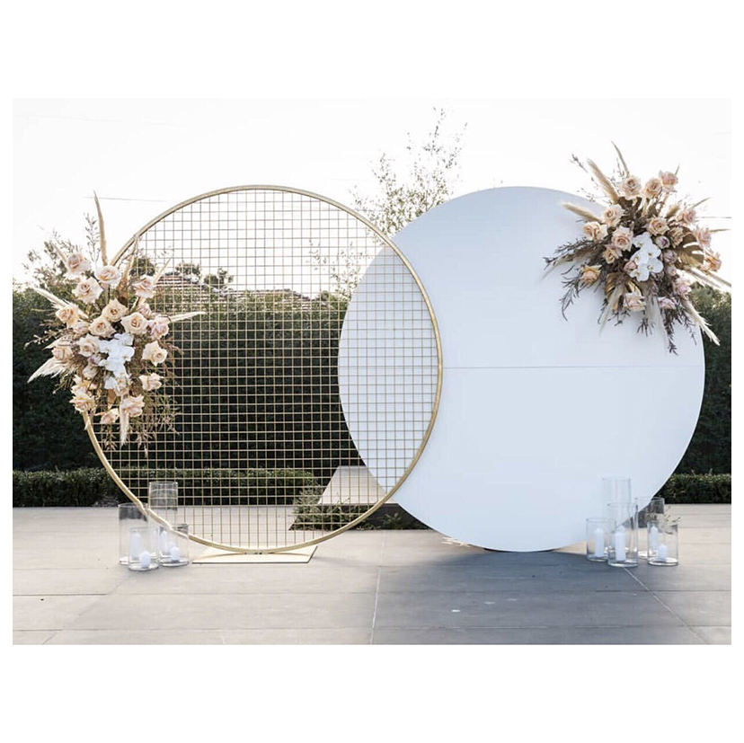 LDJ1004 Luckygoods hot selling white display metal round wedding stage backdrop