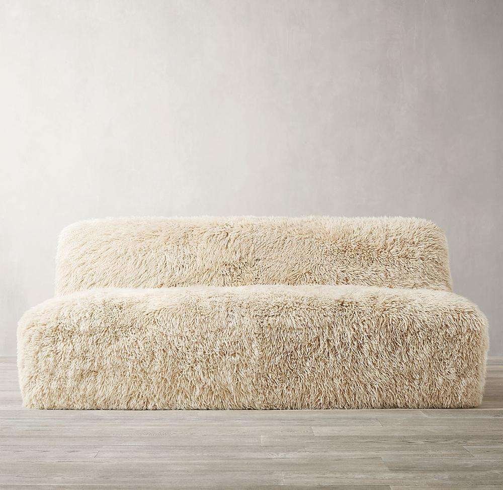 Home furniture wrapped in luxe, long-haired sheepskin living room sofa sheepskin sofa