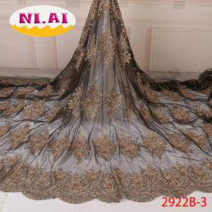 2019 Latest African French Lace Heavy Handmade Pearl Embroidered Nigerian Lace
