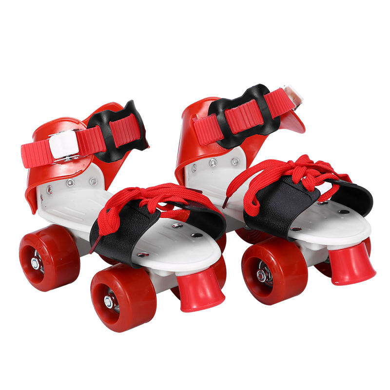 Portable double row outdoor ABC plastic children's skates wholesale student fashion lace adjustable roller skates