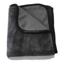 China Wholesale Gray Auto Detailing Premium 600 gsm 24x36 Large Single Side Twist Microfiber Twisted Loop Drying Towel for Car