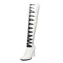 Etebella 2020 Sexy Over The Knee Boots Lace Up Gladiator Boots Pointed Toe Thin High Heel Fashion Winter Boots
