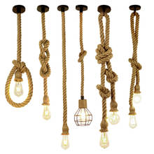 vintage hemp rope pendant light retro loft industrial hanging lamp creative country style edison bulb lamp home light decoration