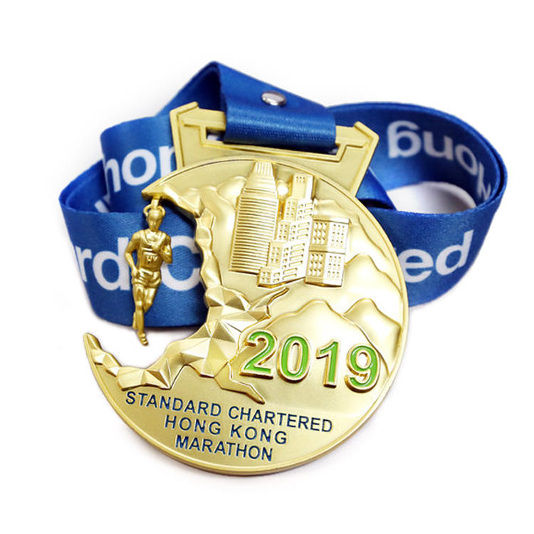 Factory Best Quality Custom Wholesale Running Marathon Metal Mdals Gold Award Medal With Lanyard