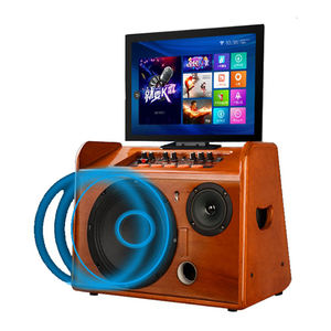 Holz hause karaoke box 8 zoll sound audio tragbare party sound box bluetooth trolley lautsprecher wifi/android mit touch bildschirm