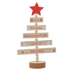 Boom Vormige Zegen Woorden Kerst Decor Mini Houten Brief Kerstboom Ster Desktop Ornament Home Party Decoratie