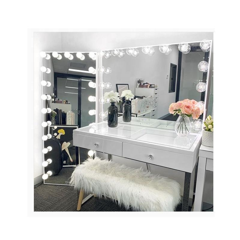 White Large Desktop Hollywood Mirror with Light Bulbs Makeup Vanity Dressing Table Large