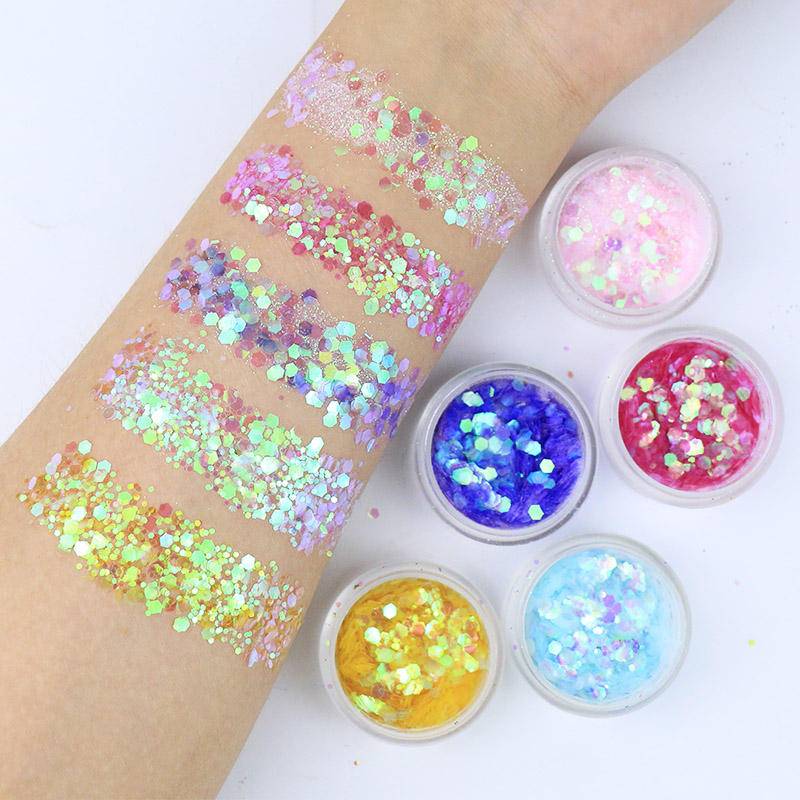 Private label face body eye shadow makeup cosmetic iridescent mix chunky glitter
