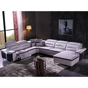 Modern Home Living Room Furniture Italian Leather Couch Set Sectional Sofa Recliner