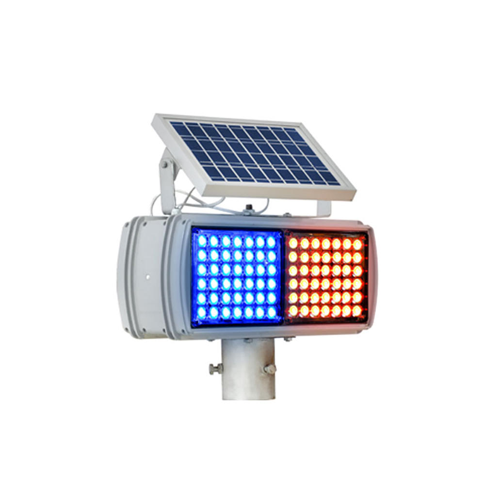 Outdoor solar led flash light red and blue traffic warning lightbar