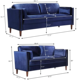 Furniture Combination Hooseng 2 Piece Velvet Sofa Furniture Set Comfortable And Soft Cushion Combination Living Room Blue Sofa Loveseat