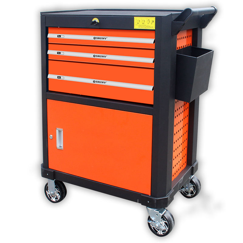 Empty Workshop and Garage Roller Tool Cabinet Trolley Chest with handle and wheels