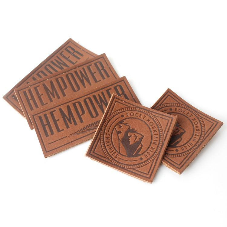 High Quality Hot Stamping Custom Logo Embossed Real Leather Labels Patches for Jeans and Bags