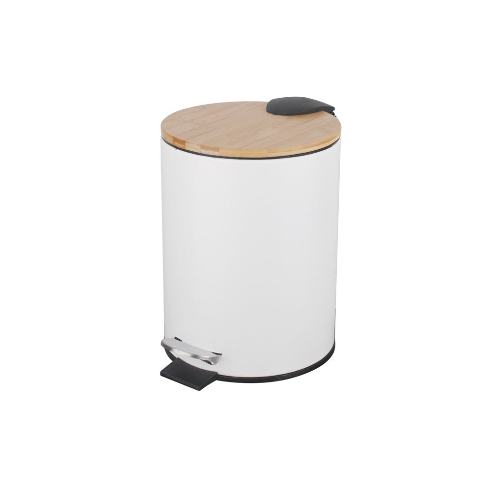 Wholesale Bathroom Designer Kitchen Living Room 3L Step Trash can with Bamboo Lid
