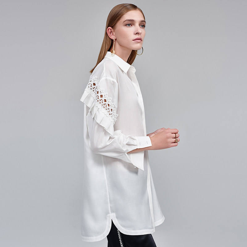Classic white custom pattern ladies silk shirt women long sleeve silk tops