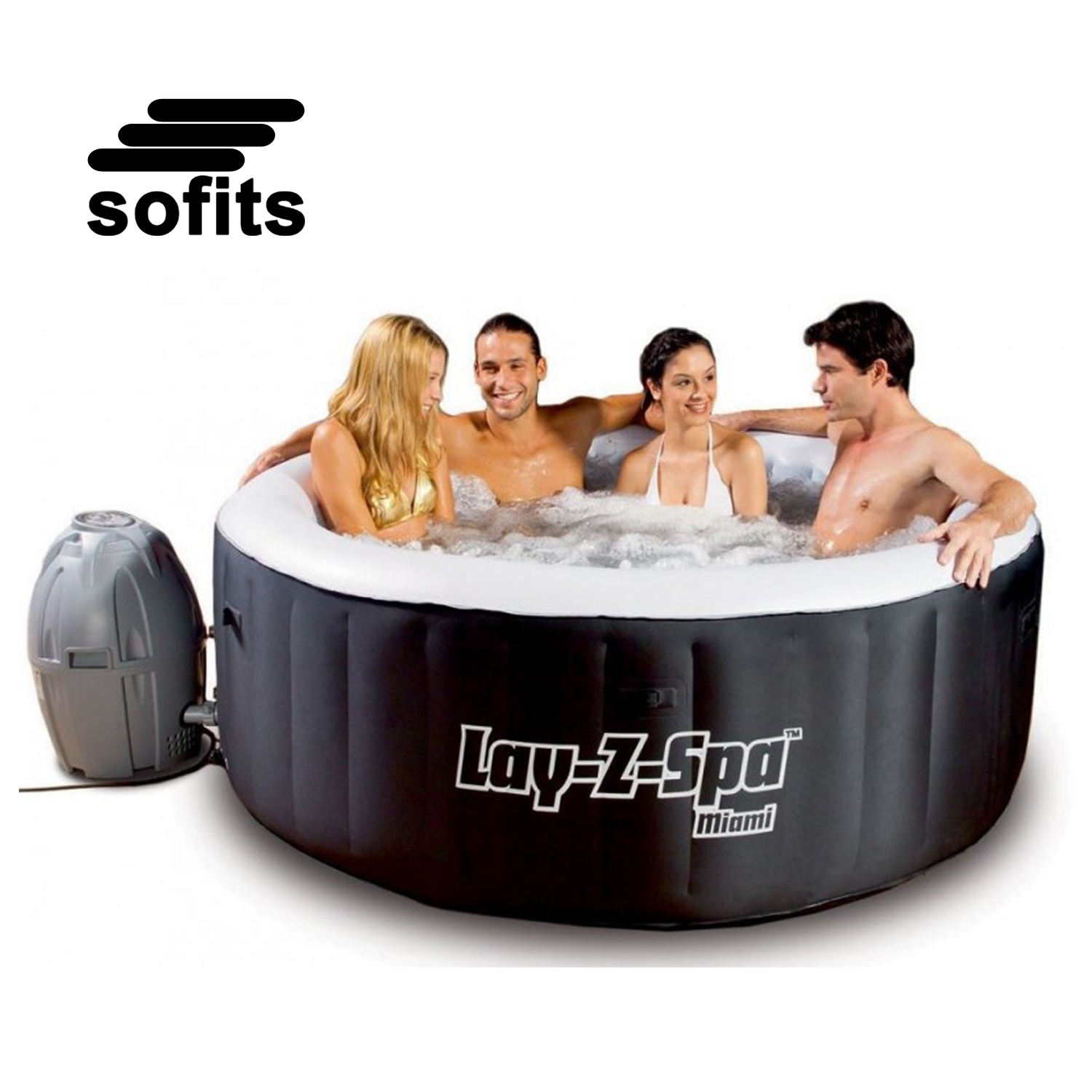 Outdoor and Indoor Inflatable Hot Tubs Spa 54123 Miami Lay Z Spa Hot Tub with Heating System