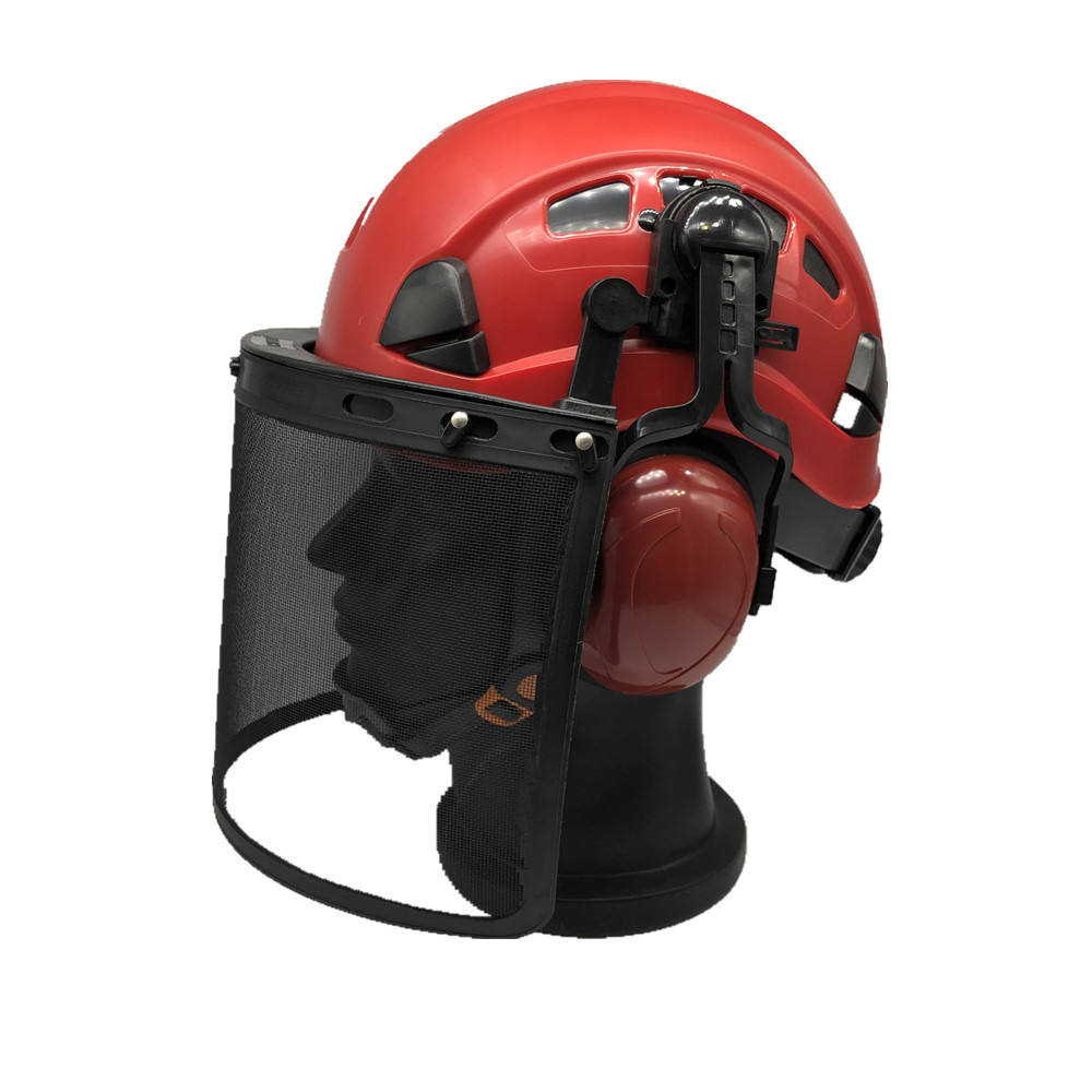 ANT5 ANSI Z89.1 ABS iron mesh faceshield anti impact high quality safety helmets with ear defenders