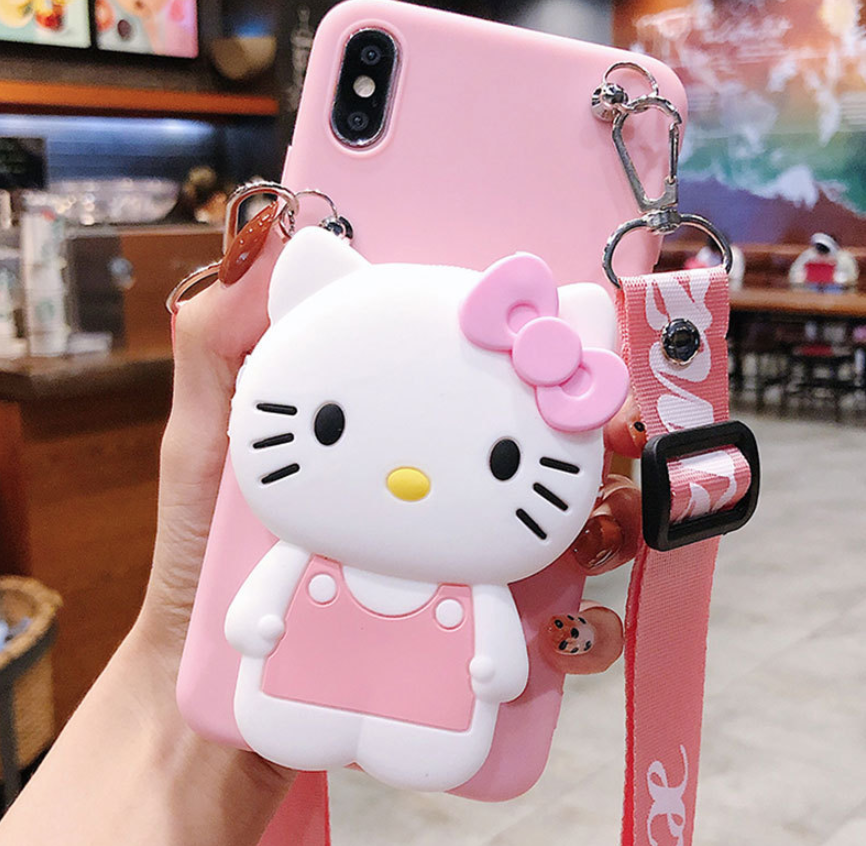 KT Cat 3D Niedlicher Puppen riemen Hello Kitty Soft Case für iPhone 11 Pro Max 11Pro 7 8 X Xs max
