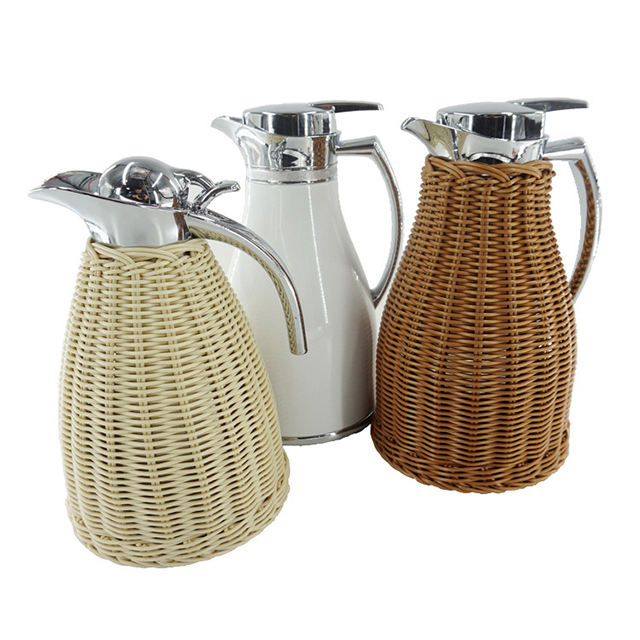 Wholesale hot sales large capacity rattan stainless steel vacuum coffee pot restaurant vacuum insulated thermos jug