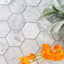 "2"" Waterjet Natural Stone Polished Bianco Carrara White Hexagon Marble Mosaic Tiles For Kitchen Backsplash Bathroom Floor"