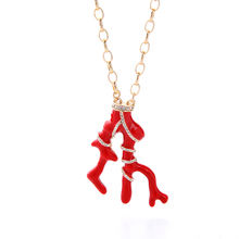 xl01451b Irregular Red Coral Shaped Rhinestone Enamel Pendant Necklace Gold Chain Christmas Gift
