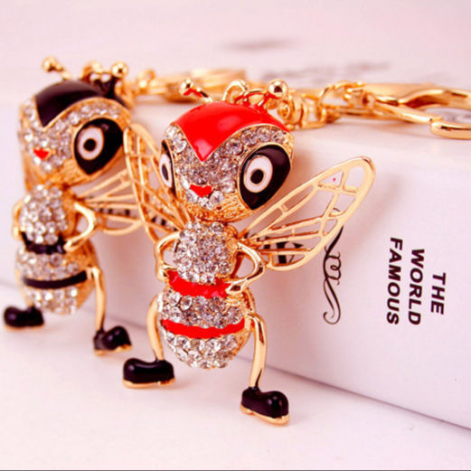 New style alloy ant key chain rhinestones keychain Fashion gold key chain promotion gift KX984