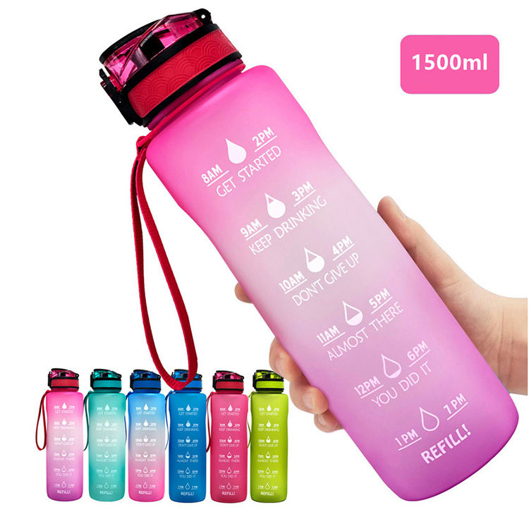 Gradient Color BPA Free Eco-friendly Large Motivational Plastic Tritan Outdoor Sports Water Bottle Drinking (500/600/800/1000ml)