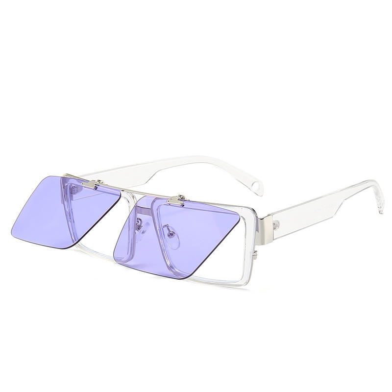 2019 newest european and usa fashionable women square double lens foldable sunglasses with anti blue glasses