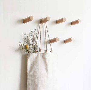 Natural Wood Coat Hooks Wall Mounted Single Organizer Hangers Handmade Craft Hat Rack Hat Hanger