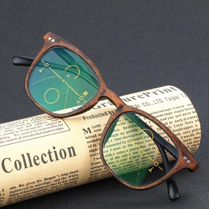 Classic Custom Vintage Wood Grain Reading Eyeglasses Progressive Reading Glasses