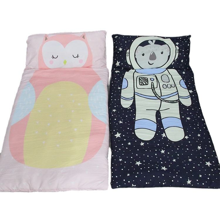 Factory OEM portable blue pink cartoon design luxury pillowcase bedding 100% cotton fox sleeping bag for kids