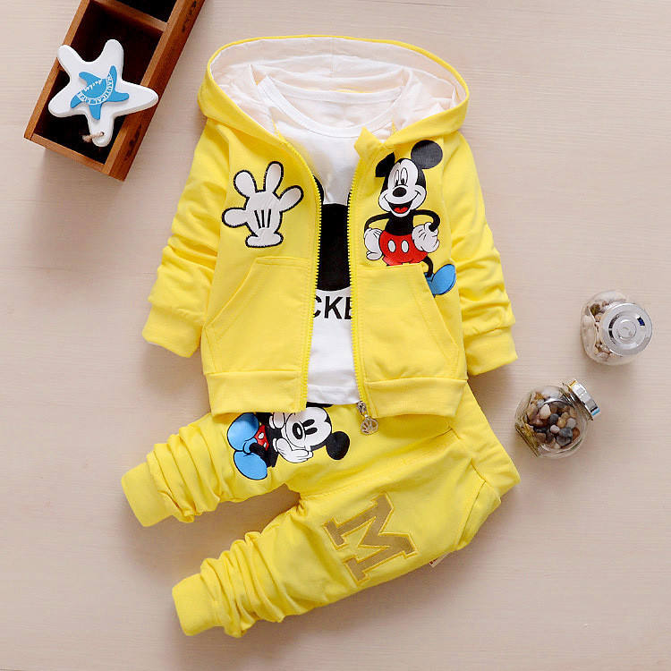 Baby Girl Clothes Outfit Set 3 pcs Printing Long Sleeve T shirt + Zipper Closure Coat + Pant Kids Clothes Fall Spring