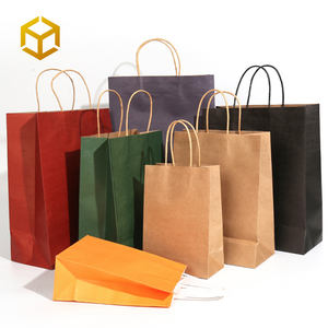 Stock Low Moq Bags For Sale Coloured Take Away Craft Recycle Packaging Coffee Takeout Customised Printed Kraft Paper Bag