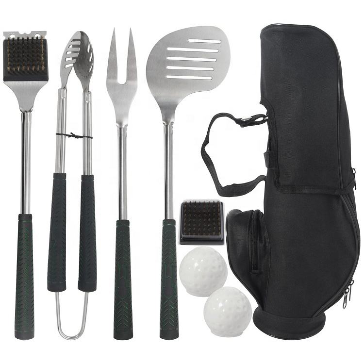 Draagbare Golf <span class=keywords><strong>Bbq</strong></span> Kit Met Pp Handvat Tool Set Met Grill Spatel