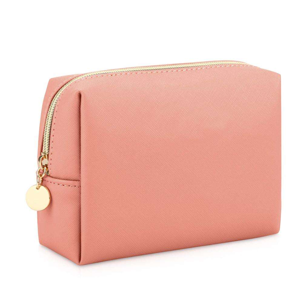 Travel Makeup Bag Small PU Vegan Leather Zipper Cosmetic Pouch Waterproof Toiletry Bag
