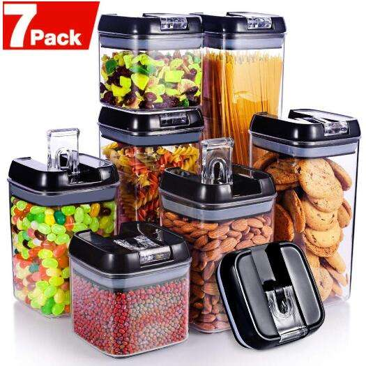 Hot Selling 7 Pieces Airtight Food Storage Container Set Dry Goods Pantry Organization Plastic clear kitchen food box