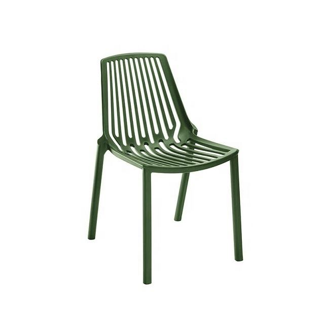 colorful stackable plastic hollow armless chair used for garden cafe