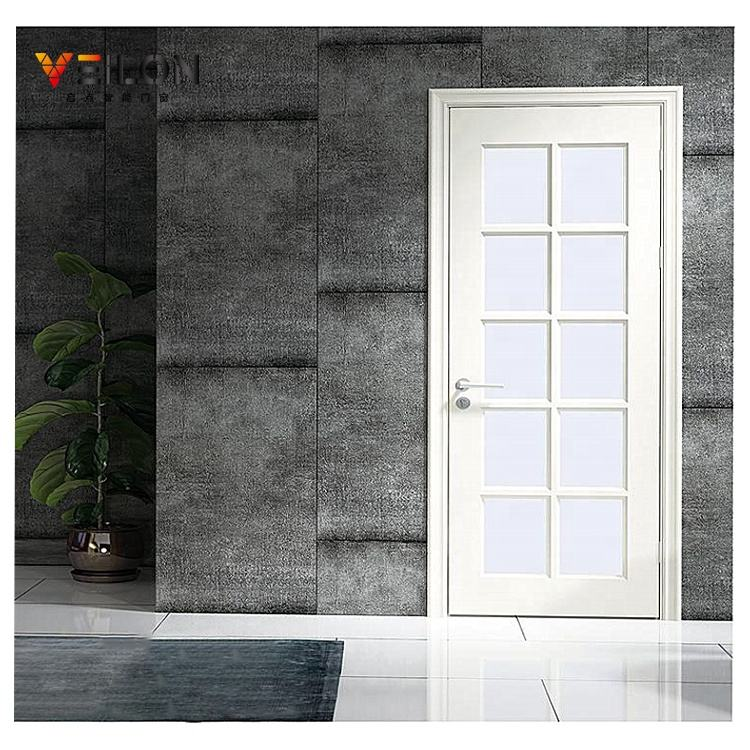 Luxury Wooden Veneer Skin Color Top Quality White Door With Glass