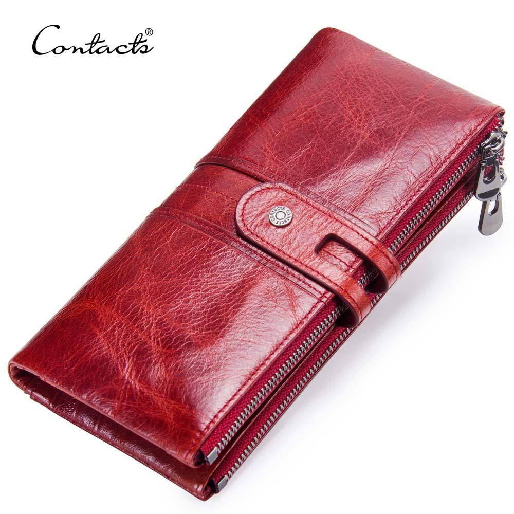 dropship contact's new design fashion long style zipper pocket high quality hardware genuine leather bifold ladies wallet