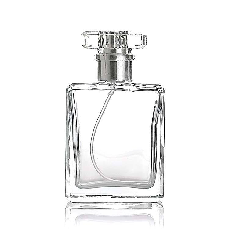 50ml empty refillable square glass perfume bottle with ps acrylic cap