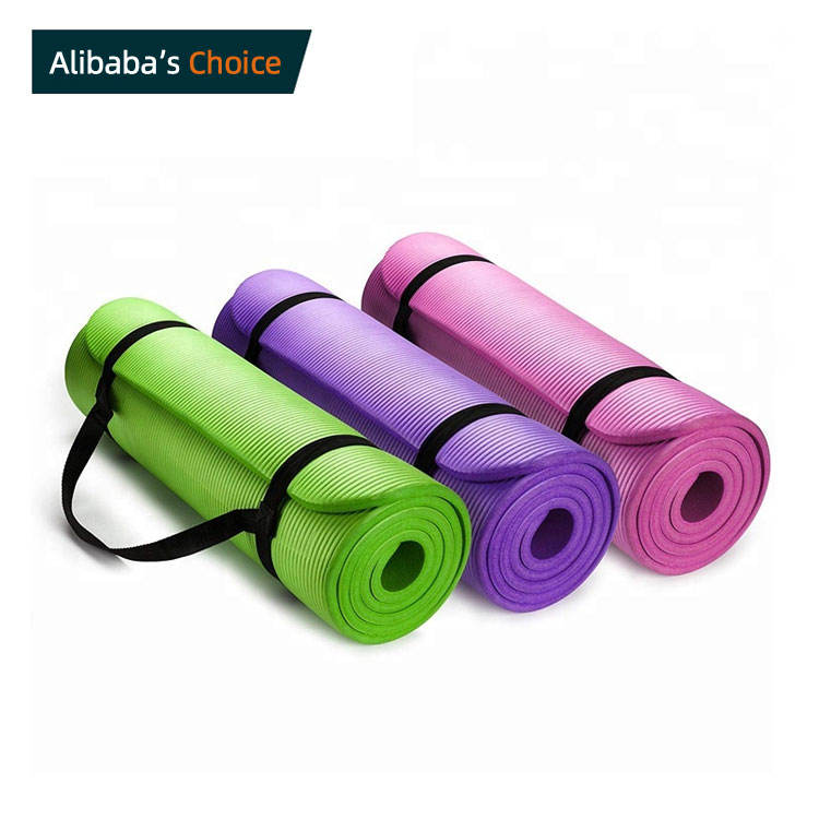 yoga matt manufacturer custom printed eco friendly exercise fitness portable pilates folding green nbr yoga matt with strap