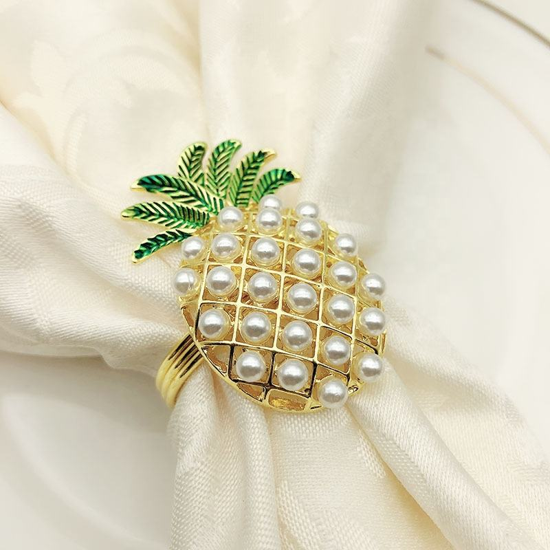 Gold Pineapple Napkin rings Rhinestone Pearl Napkin Rings Wedding Silver Metal Napkin Ring Holder for Dinner Decoration HWP01
