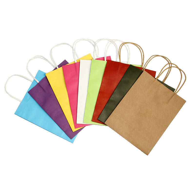 Wholesale Custom Logo Printing Food Take Away Brown kraft Paper Bag With Handle