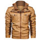 Leather Jacket For Mens Jackets Coat Men Winter New Arrivals Patchwork Design Winter Plus Velvet Hooded Motorcycle Leather Jacket For Mens Wholesale Men's Jackets Coats