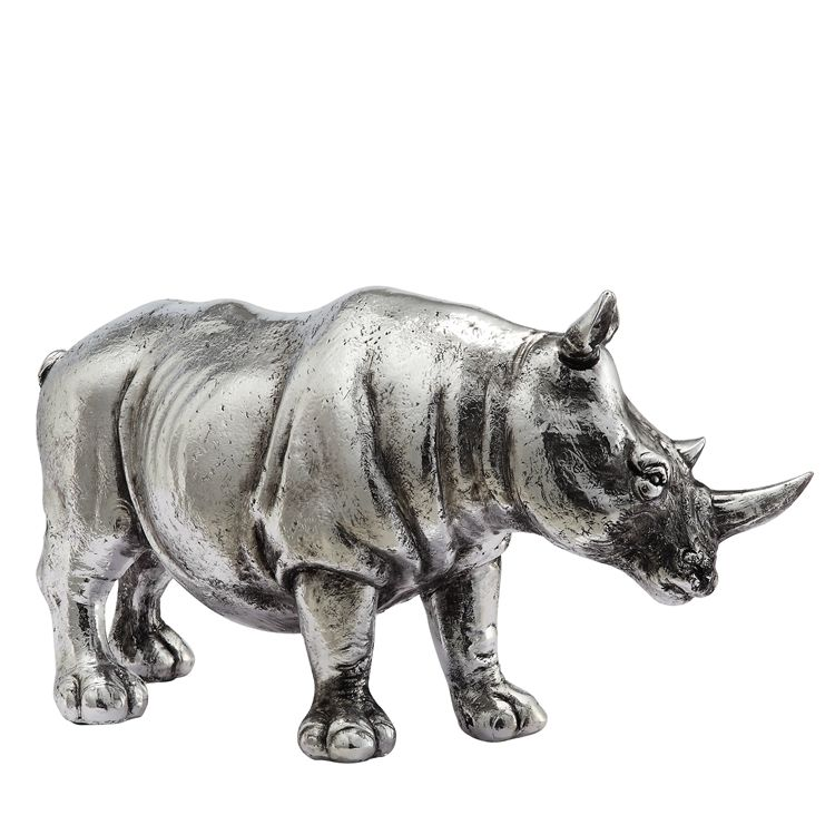 China wholesale luxury antique silver resin rhino statues home decor