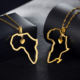 women men jewelry custom cross heart stainless steel african queen american18k gold plated Africa map pendant necklace